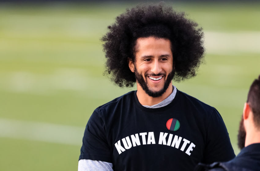 RIVERDALE, GA - NOVEMBER 16: Colin Kaepernick looks on during his NFL workout held at Charles R Drew high school on November 16, 2019 in Riverdale, Georgia. (Photo by Carmen Mandato/Getty Images)