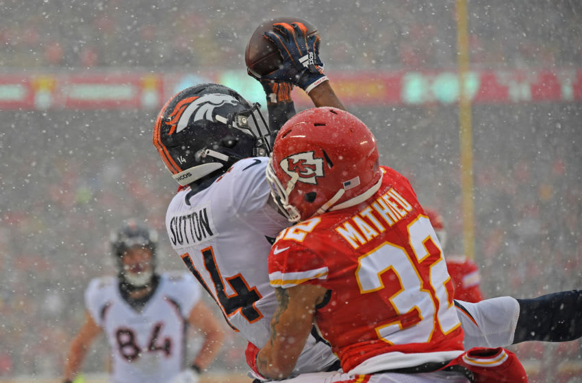 KANSAS CITY, MO - DECEMBER 15: Strong safety Tyrann Mathieu #32 of the Kansas City Chiefs breaks up a pass in the end zone intended for wide receiver Courtland Sutton #14 of the Denver Broncos during the first half at Arrowhead Stadium on December 15, 2019 in Kansas City, Missouri. (Photo by Peter Aiken/Getty Images)