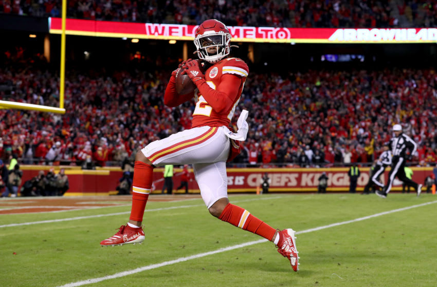 KANSAS CITY, MISSOURI - DECEMBER 01: Juan Thornhill #22 of the Kansas City Chiefs scores a touchdown after intercepting a ball intended for Tyrell Williams #16 of the Oakland Raiders during the second quarter in the game at Arrowhead Stadium on December 01, 2019 in Kansas City, Missouri. (Photo by Jamie Squire/Getty Images)