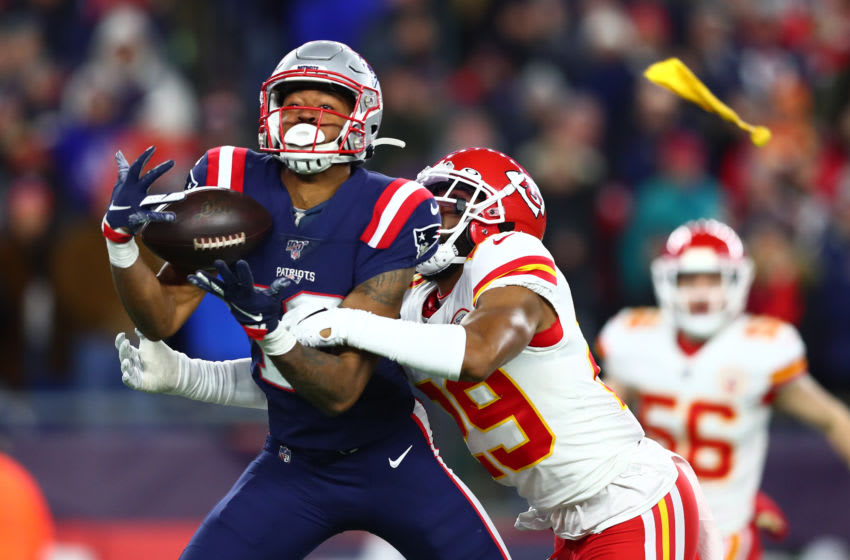 FOXBOROUGH, MASSACHUSETTS - DECEMBER 08: Jakobi Meyers #16 of the New England Patriots attempts to catch a pass as pass defense is called against Kendall Fuller #29 of the Kansas City Chiefs during the fourth quarter in the game at Gillette Stadium on December 08, 2019 in Foxborough, Massachusetts. (Photo by Adam Glanzman/Getty Images)