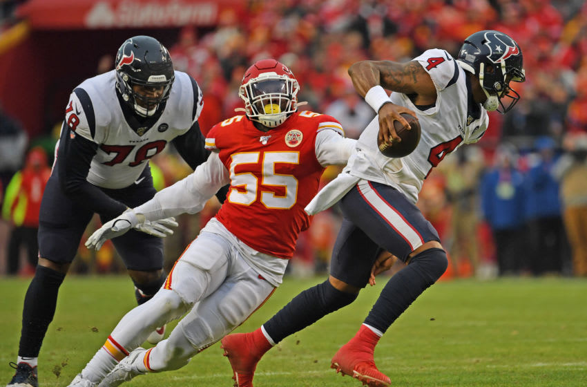 KANSAS CITY, MISSOURI - JANUARY 12: Defensive end Frank Clark #55 of the Kansas City Chiefs pressures quarterback Deshaun Watson #4 of the Houston Texans in the second half during the AFC Divisional playoff game at Arrowhead Stadium on January 12, 2020 in Kansas City, Missouri. (Photo by Peter G. Aiken/Getty Images)