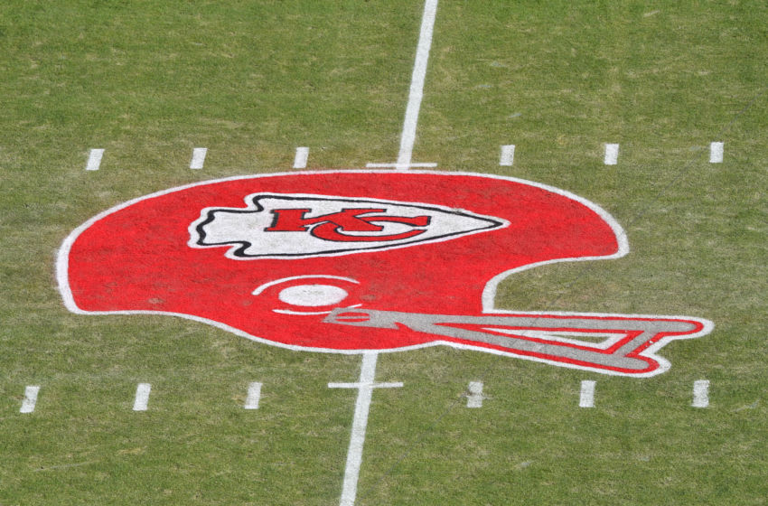 KANSAS CITY, MISSOURI - JANUARY 19: The Kansas City Chiefs helmet logo is seen on the field before the AFC Championship Game between the Kansas City Chiefs and the Tennessee Titans at Arrowhead Stadium on January 19, 2020 in Kansas City, Missouri. (Photo by Peter Aiken/Getty Images)