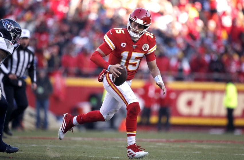 KANSAS CITY, MISSOURI - JANUARY 19: Patrick Mahomes #15 of the Kansas City Chiefs runs on his way to scoring a 27 yard touchdown in the second quarter against the Tennessee Titans in the AFC Championship Game at Arrowhead Stadium on January 19, 2020 in Kansas City, Missouri. (Photo by David Eulitt/Getty Images)