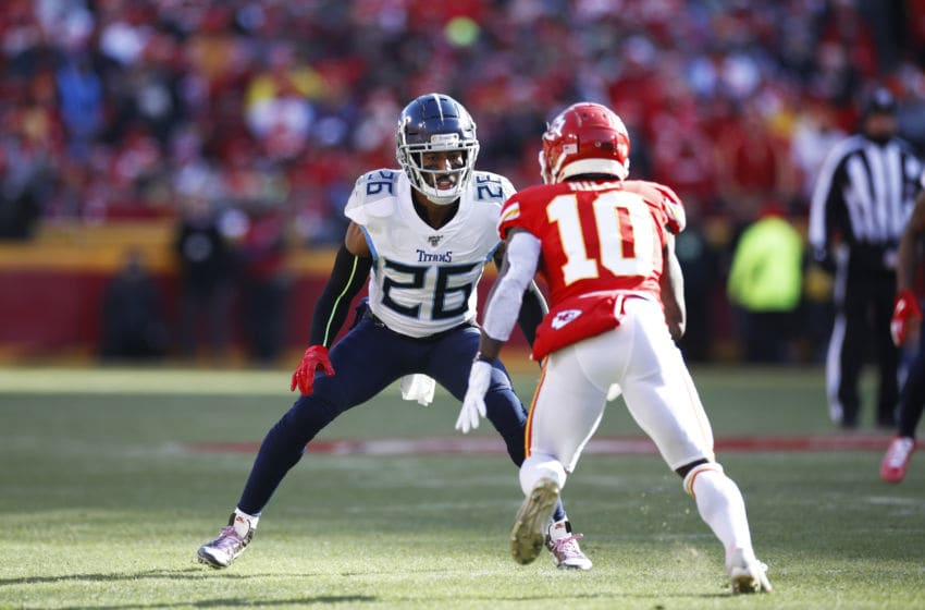 KANSAS CITY, MO - JANUARY 19: Logan Ryan #26 of the Tennessee Titans in action on defense during the AFC Championship game against the Kansas City Chiefs at Arrowhead Stadium on January 19, 2020 in Kansas City, Missouri. The Chiefs defeated the Titans 35-24. (Photo by Joe Robbins/Getty Images)