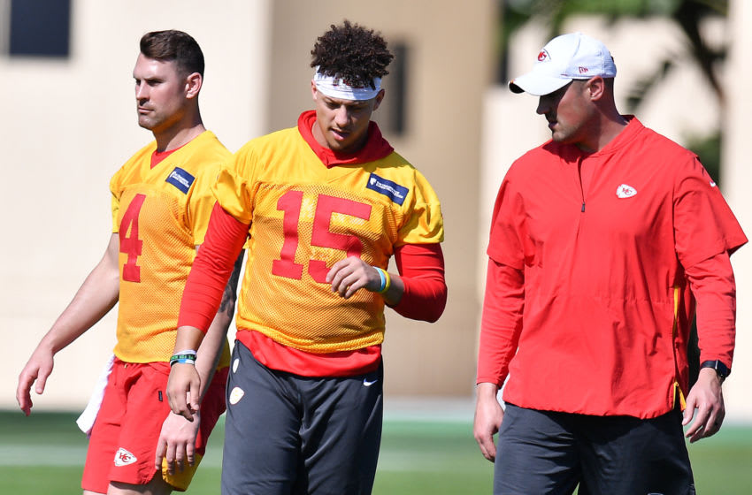 DAVIE, FLORIDA - JANUARY 29: Patrick Mahomes #15 speaks with quarterback coach Mike Kafka during the Kansas City Chiefs practice prior to Super Bowl LIV at Baptist Health Training Facility at Nova Southern University on January 29, 2020 in Davie, Florida. (Photo by Mark Brown/Getty Images)