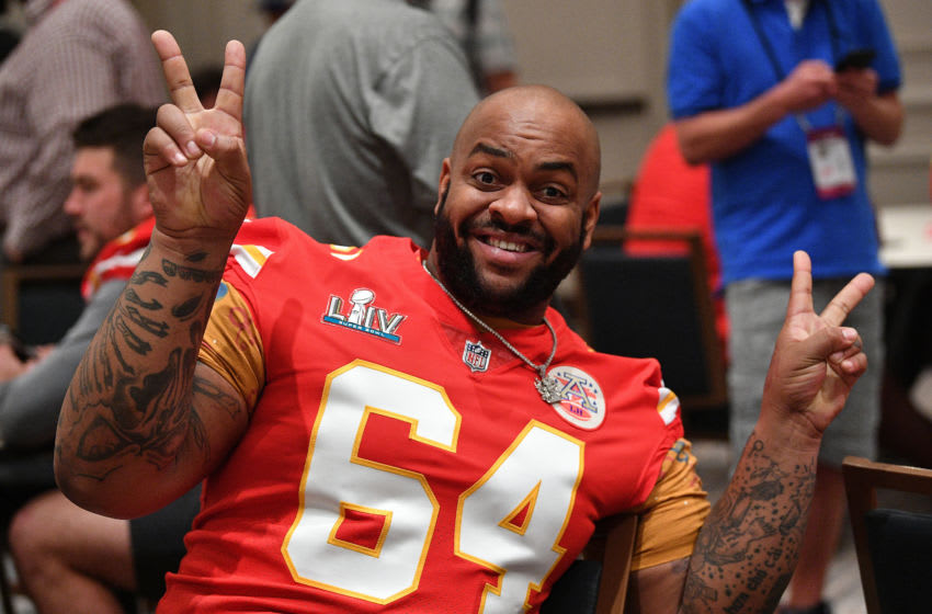 AVENTURA, FLORIDA - JANUARY 30: Mike Pennel #64 of the Kansas City Chiefs poses during the Kansas City Chiefs media availability prior to Super Bowl LIV at the JW Marriott Turnberry on January 30, 2020 in Aventura, Florida. (Photo by Mark Brown/Getty Images)