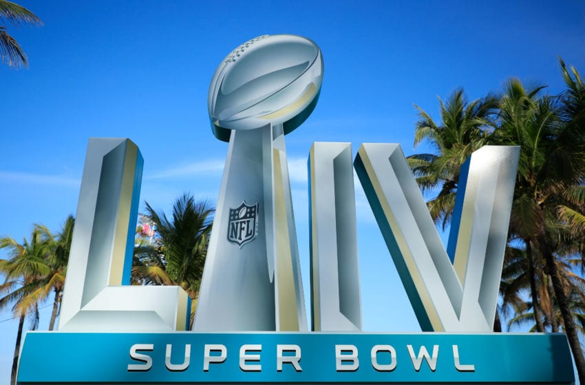 MIAMI BEACH, FLORIDA - JANUARY 30: Signage is displayed near the FOX Sports South Beach studio compound prior to Super Bowl LIV on January 30, 2020 in Miami Beach, Florida. The San Francisco 49ers will face the Kansas City Chiefs in the 54th playing of the Super Bowl, Sunday February 2nd. (Photo by Cliff Hawkins/Getty Images)