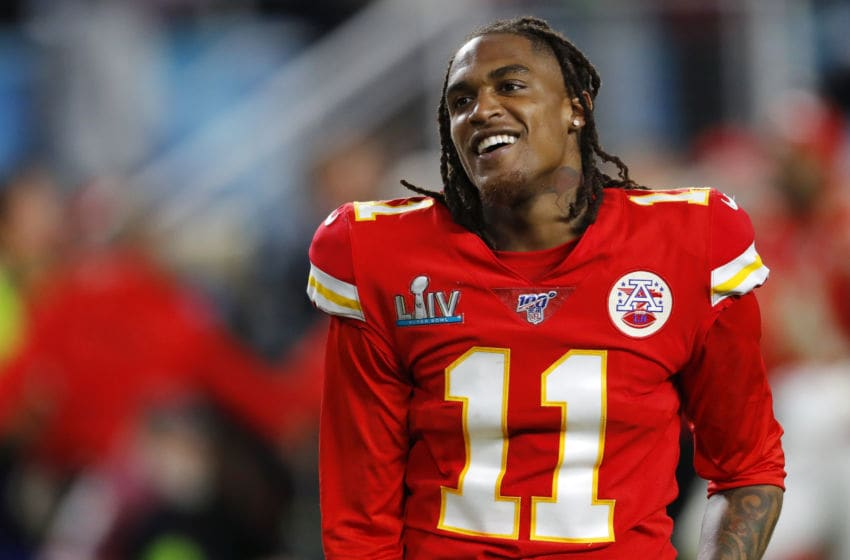 MIAMI, FLORIDA - FEBRUARY 02: Demarcus Robinson #11 of the Kansas City Chiefs celebrates after defeating the San Francisco 49ers in Super Bowl LIV at Hard Rock Stadium on February 02, 2020 in Miami, Florida. (Photo by Kevin C. Cox/Getty Images)