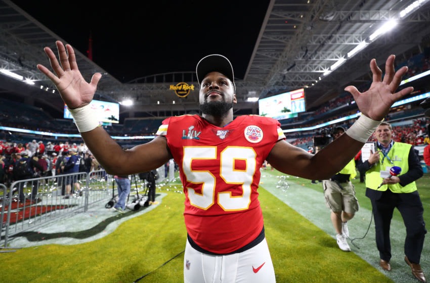 MIAMI, FLORIDA - FEBRUARY 02: Reggie Ragland #59 of the Kansas City Chiefs celebrates after defeating San Francisco 49ers by 31 - 20 in Super Bowl LIV at Hard Rock Stadium on February 02, 2020 in Miami, Florida. (Photo by Jamie Squire/Getty Images)