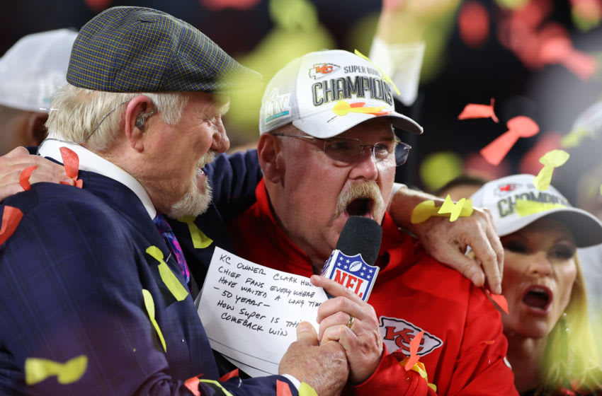MIAMI, FLORIDA - FEBRUARY 02: Head coach Andy Reid of the Kansas City Chiefs celebrates with the Vince Lombardi Trophy after defeating the San Francisco 49ers 31-20 in Super Bowl LIV at Hard Rock Stadium on February 02, 2020 in Miami, Florida. (Photo by Kevin C. Cox/Getty Images)