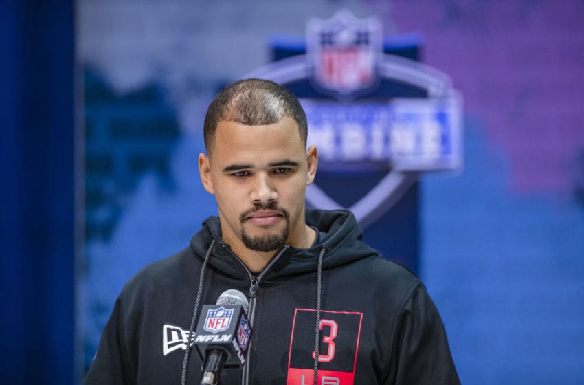 INDIANAPOLIS, IN - FEBRUARY 27: Zack Baun #LB03 of the Wisconsin Badgers speaks to the media on day three of the NFL Combine at Lucas Oil Stadium on February 27, 2020 in Indianapolis, Indiana. (Photo by Michael Hickey/Getty Images)