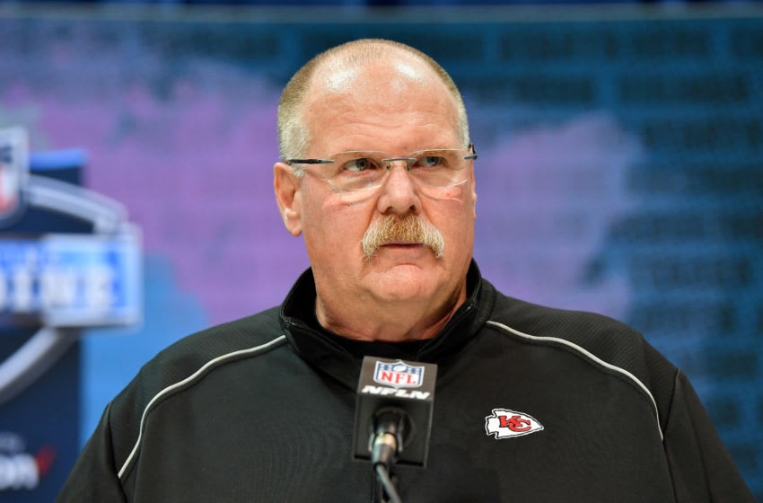 INDIANAPOLIS, INDIANA - FEBRUARY 25: Head coach Andy Reid of the Kansas City Chiefs interviews during the first day of the NFL Scouting Combine at Lucas Oil Stadium on February 25, 2020 in Indianapolis, Indiana. (Photo by Alika Jenner/Getty Images)