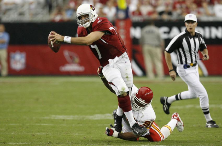Arizona Cardinals quarterback Matt Leinart is sacked by Kansas City Chiefs linebacker Kendrell Bell. The Kansas City Chiefs defeated the Arizona Cardinals by a score of 23 to 20 at Cardinals Stadium, Glendale, AZ, October 8, 2006. (Photo by Rich Gabrielson/NFLPhotoLibrary)