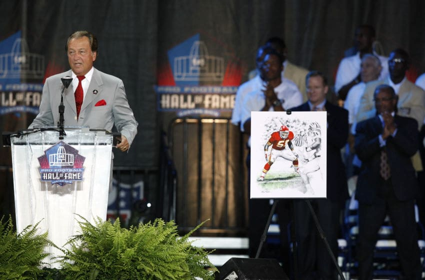 CANTON, OH - AUGUST 8: Kansas City Chiefs general manager Carl Peterson acknowledges the family of the late Derrick Thomas at his induction into the Pro Football Hall of Fame during the 2009 enshrinement ceremony at Fawcett Stadium on August 8, 2009 in Canton, Ohio. (Photo by Joe Robbins/Getty Images)