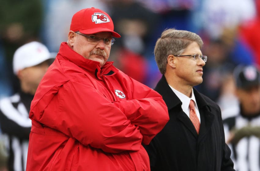 ORCHARD PARK, NY - NOVEMBER 09: Head Coach Andy Reid of the Kansas City Chiefs and Kansas City Chiefs owner Clark Hunt during the first half at Ralph Wilson Stadium on November 9, 2014 in Orchard Park, New York. (Photo by Tom Szczerbowski/Getty Images)