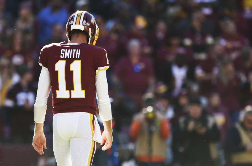 LANDOVER, MD - NOVEMBER 04: Quarterback Alex Smith #11 of the Washington Redskins looks on in the first half against the Atlanta Falcons at FedExField on November 4, 2018 in Landover, Maryland. (Photo by Patrick McDermott/Getty Images)