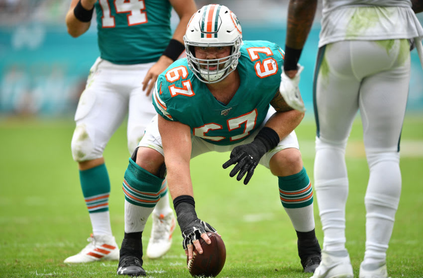 MIAMI, FLORIDA - DECEMBER 01: Daniel Kilgore #67 of the Miami Dolphins in action against the Philadelphia Eagles in the third quarter at Hard Rock Stadium on December 01, 2019 in Miami, Florida. (Photo by Mark Brown/Getty Images)