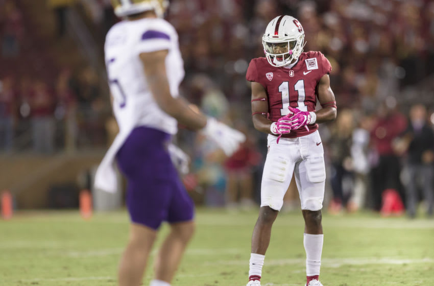 PALO ALTO, CA - OCTOBER 5: Paulson Adebo #11 of the Stanford Cardinal plays defense during an NCAA Pac-12 college football game against the Washington Huskies on October 5, 2019 at Stanford Stadium in Palo Alto, California. (Photo by David Madison/Getty Images)