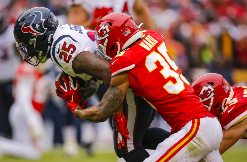 KANSAS CITY, MO - JANUARY 12: Charvarius Ward #35 of the Kansas City Chiefs tackles Duke Johnson #25 of the Houston Texans during the second quarter of the AFC Divisional playoff game at Arrowhead Stadium on January 12, 2020 in Kansas City, Missouri. (Photo by David Eulitt/Getty Images)