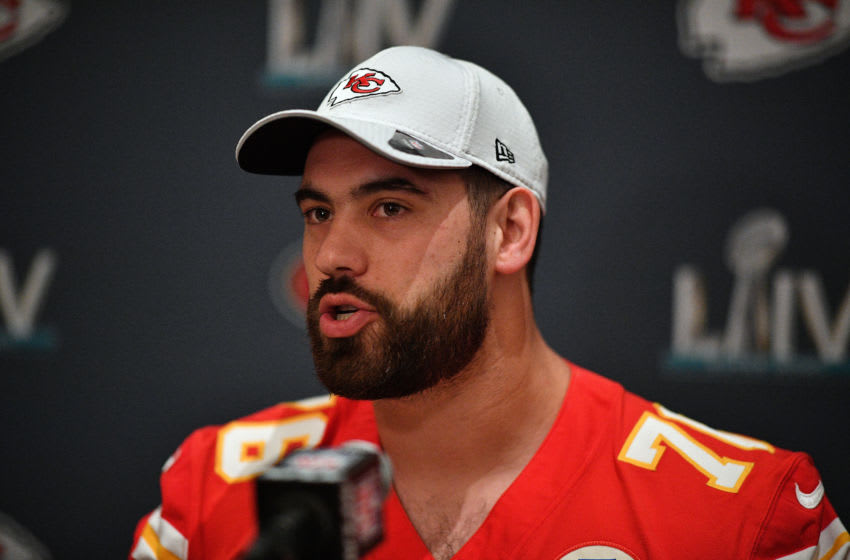AVENTURA, FLORIDA - JANUARY 29: Laurent Duvernay-Tardif #76 of the Kansas City Chiefs speaks to the media during the Kansas City Chiefs media availability prior to Super Bowl LIV at the JW Marriott Turnberry on January 29, 2020 in Aventura, Florida. (Photo by Mark Brown/Getty Images)