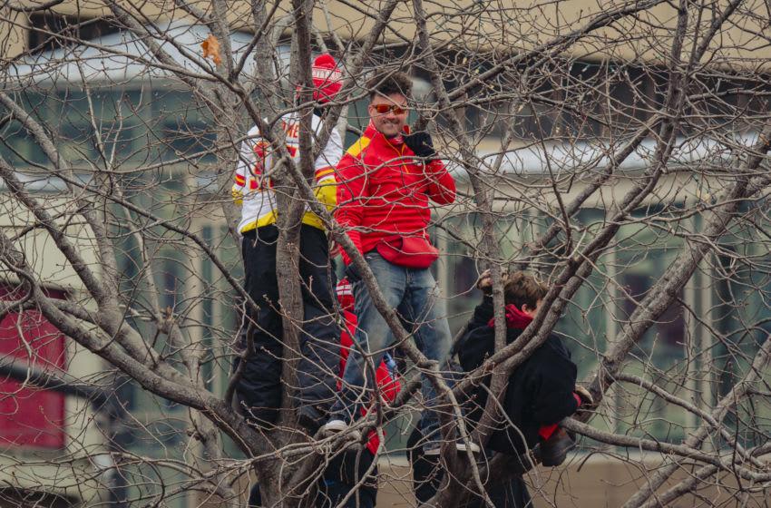 KANSAS CITY, MO - FEBRUARY 05: Fans climb trees to watch the Kansas City Chiefs Victory Parade on February 5, 2020 in Kansas City, Missouri. (Photo by Kyle Rivas/Getty Images)