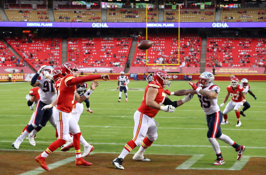 KANSAS CITY, MISSOURI - OCTOBER 05: Patrick Mahomes #15 of the Kansas City Chiefs throws a pass against the New England Patriots at Arrowhead Stadium on October 05, 2020 in Kansas City, Missouri. (Photo by Jamie Squire/Getty Images)
