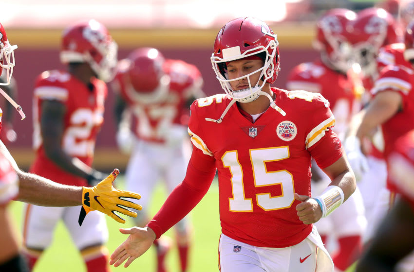 KANSAS CITY, MISSOURI - OCTOBER 11: Patrick Mahomes #15 of the Kansas City Chiefs takes the field prior to the game against the Las Vegas Raiders at Arrowhead Stadium on October 11, 2020 in Kansas City, Missouri. (Photo by Jamie Squire/Getty Images)