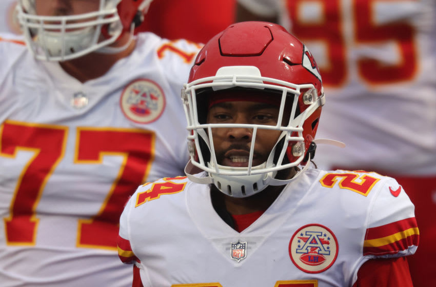 ORCHARD PARK, NY - OCTOBER 19: Tedric Thompson #24 of the Kansas City Chiefs takes to the field before a game against the Buffalo Bills at Bills Stadium on October 19, 2020 in Orchard Park, New York. Kansas City beats Buffalo 26 to 17. (Photo by Timothy T Ludwig/Getty Images)