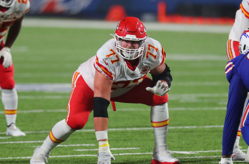 ORCHARD PARK, NY - OCTOBER 19: Andrew Wylie #77 of the Kansas City Chiefs waits for the snap against the Buffalo Bills at Bills Stadium on October 19, 2020 in Orchard Park, New York. Kansas City beats Buffalo 26 to 17. (Photo by Timothy T Ludwig/Getty Images)