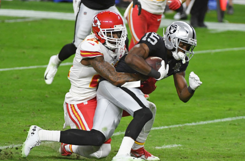 LAS VEGAS, NEVADA - NOVEMBER 22: Wide receiver Nelson Agholor #15 of the Las Vegas Raiders is tackled after a gain by cornerback Bashaud Breeland #21 of the Kansas City Chiefs in the first half of their game at Allegiant Stadium on November 22, 2020 in Las Vegas, Nevada. The Chiefs defeated the Raiders 35-31. (Photo by Ethan Miller/Getty Images)
