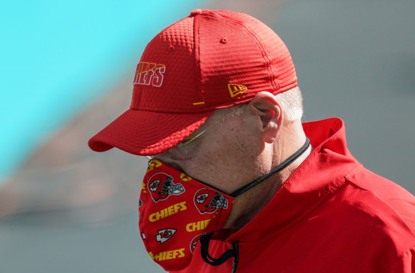 MIAMI GARDENS, FLORIDA - DECEMBER 13: Head Coach Andy Reid of the Kansas City Chiefs wears a mask prior to the game against the Miami Dolphins at Hard Rock Stadium on December 13, 2020 in Miami Gardens, Florida. (Photo by Mark Brown/Getty Images)