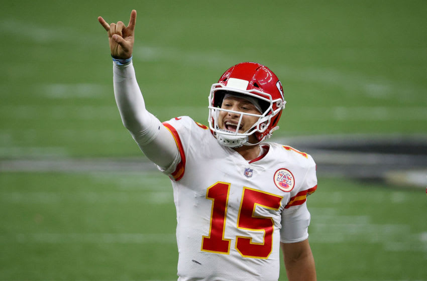 NEW ORLEANS, LOUISIANA - DECEMBER 20: Patrick Mahomes #15 of the Kansas City Chiefs signals for a two-point conversion against the New Orleans Saints during the fourth quarter in the game at Mercedes-Benz Superdome on December 20, 2020 in New Orleans, Louisiana. (Photo by Chris Graythen/Getty Images)