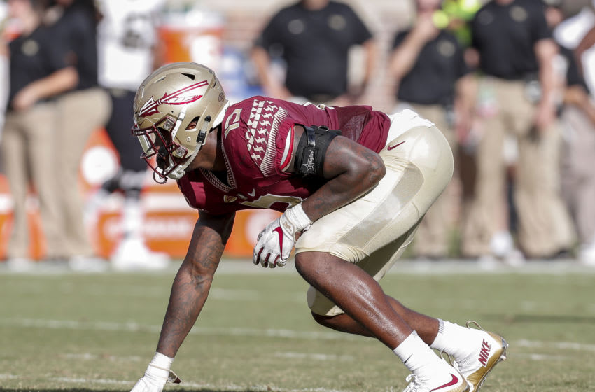 TALLAHASSEE, FL - OCTOBER 20: Defensive End Joshua Kaindoh #13 of the Florida State Seminoles during the game against the Wake Forest Demon Deacons at Doak Campbell Stadium on Bobby Bowden Field on October 20, 2018 in Tallahassee, Florida. Florida State defeated Wake Forest 38 to 17. (Photo by Don Juan Moore/Getty Images)