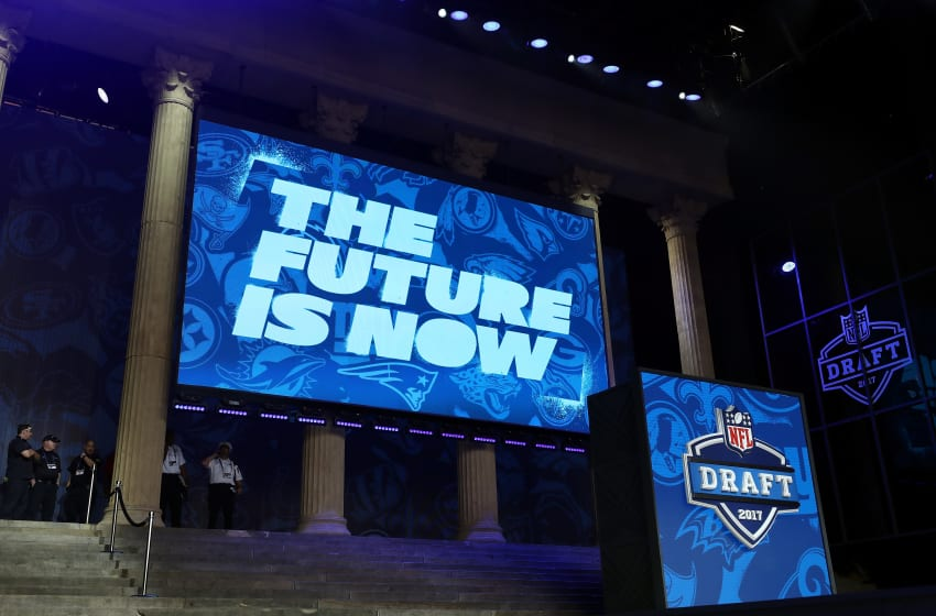 PHILADELPHIA, PA - APRIL 27: A view of the stage prior to the first round of the 2017 NFL Draft at the Philadelphia Museum of Art on April 27, 2017 in Philadelphia, Pennsylvania. (Photo by Elsa/Getty Images)
