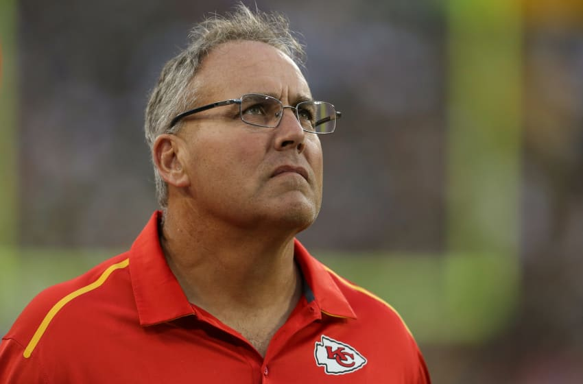 GREEN BAY, WI - AUGUST 28: Special teams coach Dave Toub of the Kansas City Chiefs looks on in the first half of the preseason game against the Green Bay Packers on August 28, 2014 at Lambeau Field in Green Bay, Wisconsin. (Photo by John Konstantaras/Getty Images)