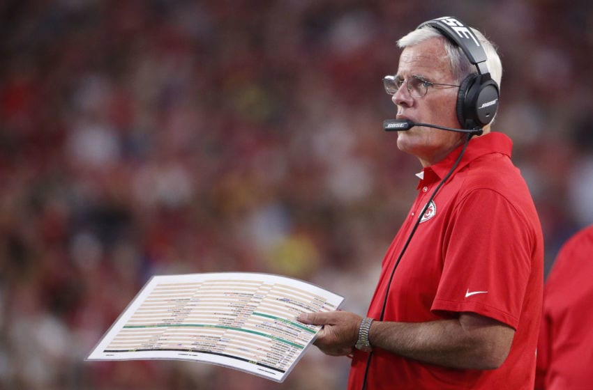 GLENDALE, AZ - AUGUST 15: Defensive Coordinator Bob Sutton of the Kansas City Chiefs on the sidelines during the pre-season NFL game against the Arizona Cardinals at the University of Phoenix Stadium on August 15, 2015 in Glendale, Arizona. The Chiefs defeated the Cardinals 34-19. (Photo by Christian Petersen/Getty Images)