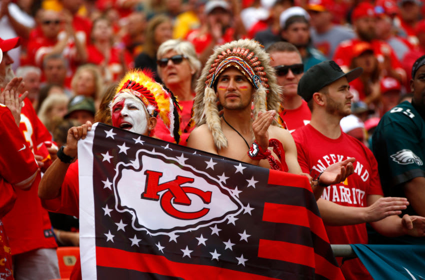 KANSAS CITY, MO - SEPTEMBER 17: Kansas City Chiefs fans wait for the start of the game in the stands prior to the game against the Philadelphia Eagles at Arrowhead Stadium on September 17, 2017 in Kansas City, Missouri. ( Photo by Jamie Squire/Getty Images)