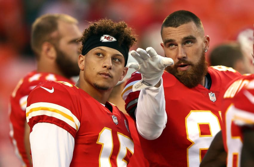 KANSAS CITY, MO - AUGUST 30: Quarterback Patrick Mahomes #15 and tight end Travis Kelce #87 of the Kansas City Chiefs scan the crowd during warm-ups prior to the preseason game against the Green Bay Packers at Arrowhead Stadium on August 30, 2018 in Kansas City, Missouri. (Photo by Jamie Squire/Getty Images)