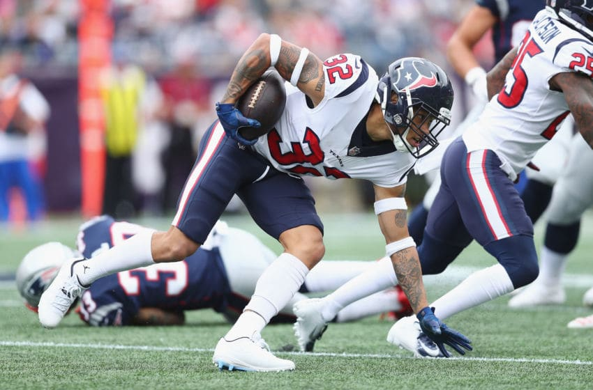 FOXBOROUGH, MA - SEPTEMBER 09: Tyrann Mathieu #32 of the Houston Texans runs with the ball after recovering a fumble by Rob Gronkowski #87 of the New England Patriots during the third quarter at Gillette Stadium on September 9, 2018 in Foxborough, Massachusetts. (Photo by Maddie Meyer/Getty Images)