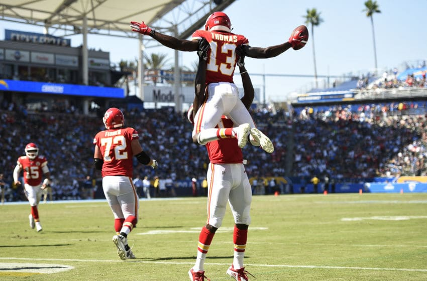 CARSON, CA - SEPTEMBER 09: De'Anthony Thomas #13 of the Kansas City Chiefs celebrates a touchdown with Chris Conley #17 against Los Angeles Chargers during the second half at StubHub Center on September 9, 2018 in Carson, California. (Photo by Kevork Djansezian/Getty Images)