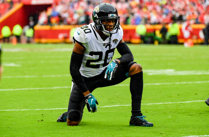 KANSAS CITY, MO - OCTOBER 7: Jalen Ramsey #20 of the Jacksonville Jaguars takes a knee between plays during the second quarter of the game against the Kansas City Chiefs at Arrowhead Stadium on October 7, 2018 in Kansas City, Missouri. (Photo by Peter Aiken/Getty Images)