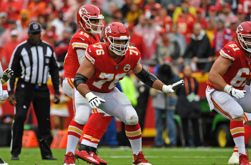 KANSAS CITY, MO - OCTOBER 07: Offensive tackle Laurent Duvernay-Tardif #76 of the Kansas City Chiefs gets set to pass block during the first half against the Jacksonville Jaguars on October 7, 2018 at Arrowhead Stadium in Kansas City, Missouri. (Photo by Peter G. Aiken/Getty Images)