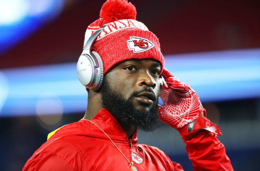 FOXBOROUGH, MA - OCTOBER 14: Damien Williams #26 of the Kansas City Chiefs looks on before a game against the New England Patriots at Gillette Stadium on October 14, 2018 in Foxborough, Massachusetts. (Photo by Adam Glanzman/Getty Images)