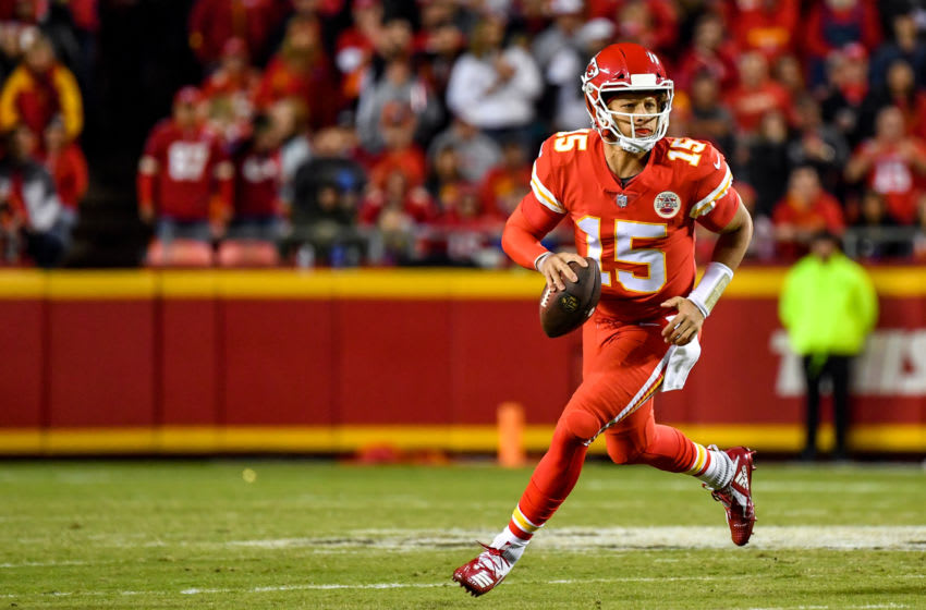KANSAS CITY, MO - OCTOBER 21: Patrick Mahomes #15 of the Kansas City Chiefs rolls out of the pocket in the second quarter of the game against the Cincinnati Bengals at Arrowhead Stadium on October 21, 2018 in Kansas City, Kansas. (Photo by Peter Aiken/Getty Images)