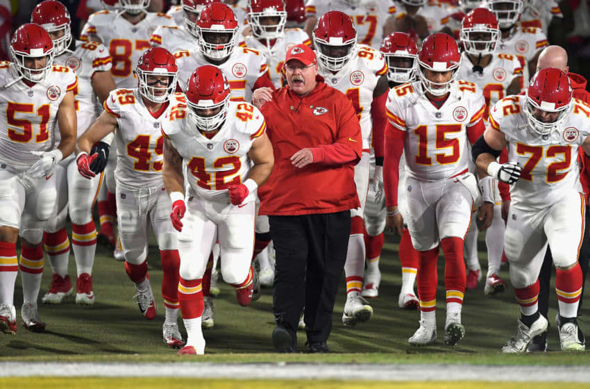 LOS ANGELES, CA - NOVEMBER 19: Head coach Andy Reid of the Kansas City Chiefs enters the field with his team before the start of the game against the Los Angeles Rams at Los Angeles Memorial Coliseum on November 19, 2018 in Los Angeles, California. (Photo by Kevork Djansezian/Getty Images)