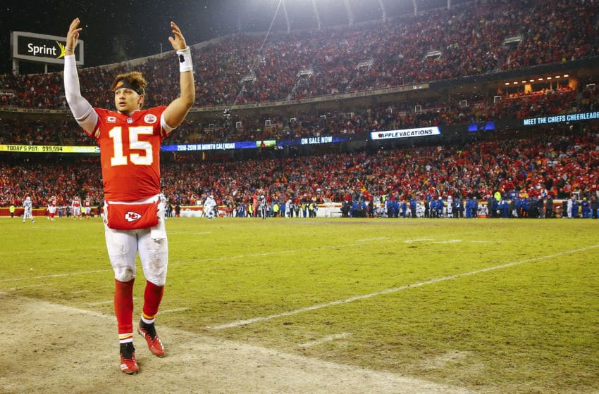 KANSAS CITY, MO - JANUARY 12: Quarterback Patrick Mahomes #15 of the Kansas City Chiefs celebrates in the final minute of the 31-13 victory over the Indianapolis Colts in the AFC Divisional Playoff at Arrowhead Stadium on January 12, 2019 in Kansas City, Missouri. (Photo by David Eulitt/Getty Images)