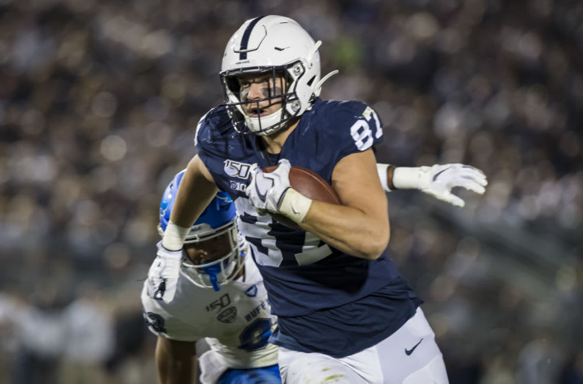 STATE COLLEGE, PA - SEPTEMBER 07: Pat Freiermuth #87 of the Penn State Nittany Lions catches a pass for a touchdown against the Buffalo Bulls during the second half at Beaver Stadium on September 07, 2019 in State College, Pennsylvania. (Photo by Scott Taetsch/Getty Images)
