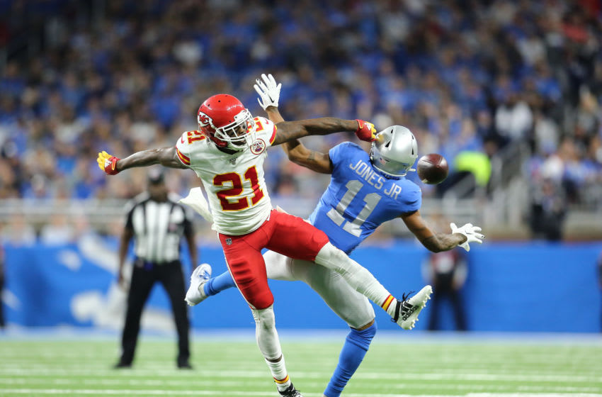 DETROIT, MI - SEPTEMBER 29: Marvin Jones #11 of the Detroit Lions has a pass broken up by Bashaud Breeland #21 of the Kansas City Chiefs in the third quarter at Ford Field on September 29, 2019 in Detroit, Michigan. (Photo by Rey Del Rio/Getty Images)