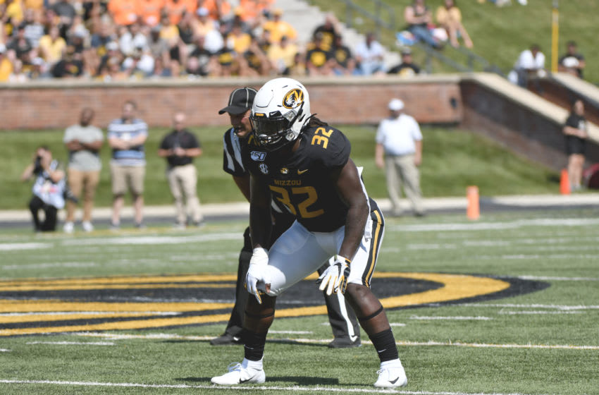 COLUMBIA, MO - SEPTEMBER 07: Linebacker Nick Bolton #32 of the Missouri Tigers in action against the West Virginia Mountaineers at Memorial Stadium on September 7, 2019 in Columbia, Missouri. (Photo by Ed Zurga/Getty Images)