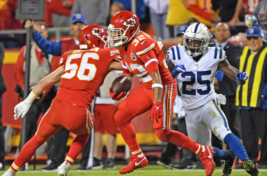KANSAS CITY, MO - OCTOBER 06: Strong safety Tyrann Mathieu #32 of the Kansas City Chiefs returns an intercepting against the Indianapolis Colts during the first half at Arrowhead Stadium on October 6, 2019 in Kansas City, Missouri. (Photo by Peter Aiken/Getty Images)